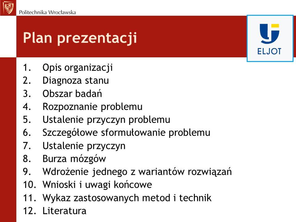 Plan prezentacji 1.Opis organizacji 2.Diagnoza stanu 3.Obszar badań 4.Rozpoznanie problemu 5.Ustalenie przyczyn problemu 6.Szczegółowe sformułowanie p