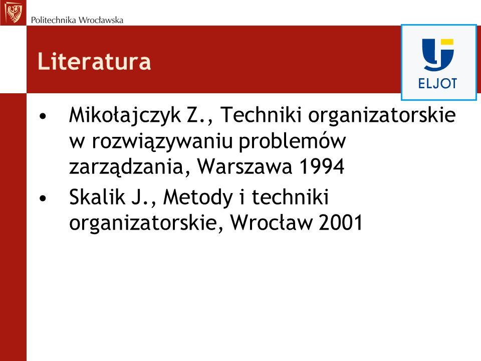 Literatura Mikołajczyk Z., Techniki organizatorskie w rozwiązywaniu problemów zarządzania, Warszawa 1994 Skalik J., Metody i techniki organizatorskie,