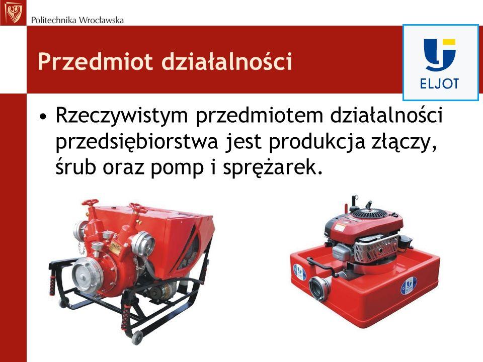 Przedmiot działalności Rzeczywistym przedmiotem działalności przedsiębiorstwa jest produkcja złączy, śrub oraz pomp i sprężarek.