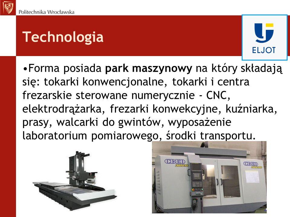 Technologia Forma posiada park maszynowy na który składają się: tokarki konwencjonalne, tokarki i centra frezarskie sterowane numerycznie - CNC, elekt