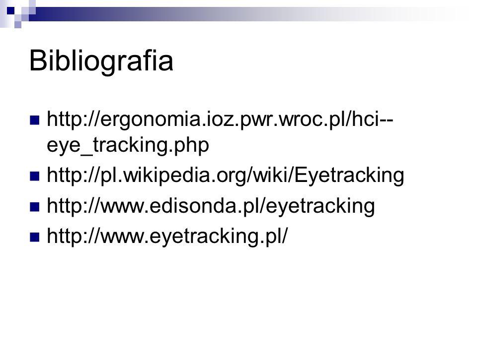 Bibliografia http://ergonomia.ioz.pwr.wroc.pl/hci-- eye_tracking.php http://pl.wikipedia.org/wiki/Eyetracking http://www.edisonda.pl/eyetracking http://www.eyetracking.pl/