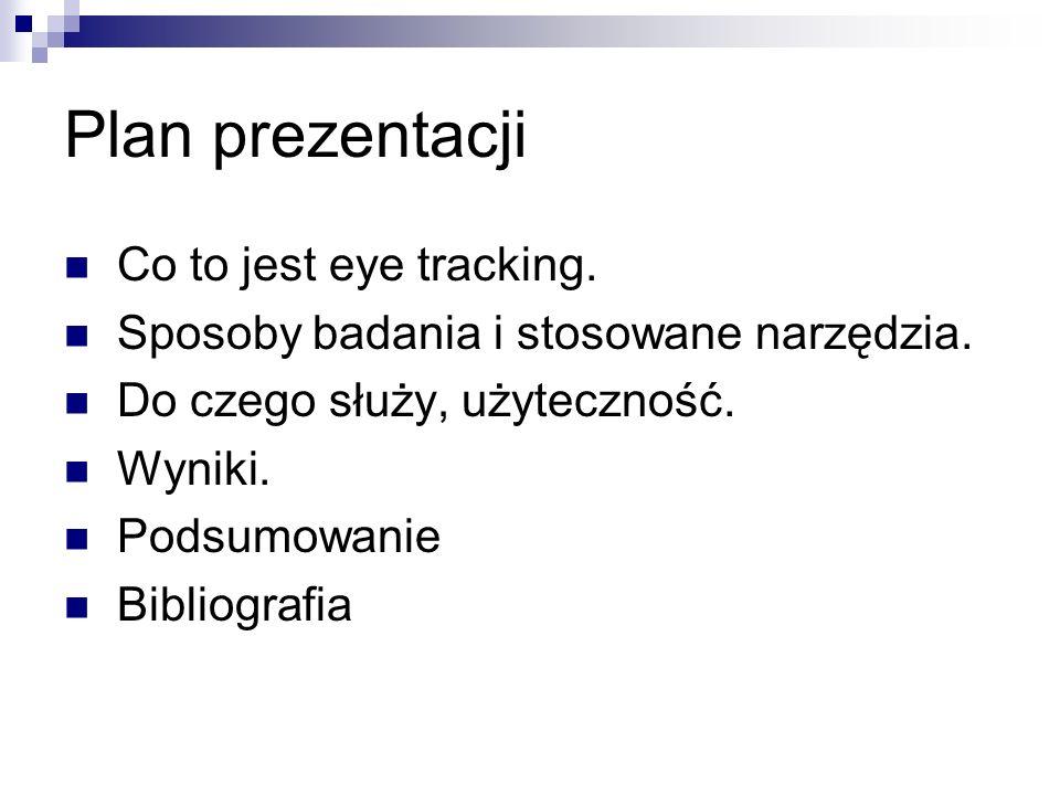 Plan prezentacji Co to jest eye tracking.Sposoby badania i stosowane narzędzia.