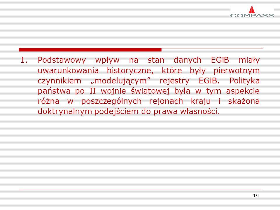 19 1.Podstawowy wpływ na stan danych EGiB miały uwarunkowania historyczne, które były pierwotnym czynnikiem modelującym rejestry EGiB. Polityka państw