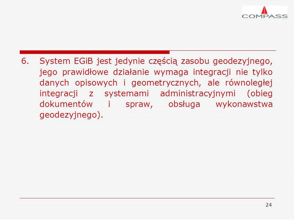 24 6.System EGiB jest jedynie częścią zasobu geodezyjnego, jego prawidłowe działanie wymaga integracji nie tylko danych opisowych i geometrycznych, al