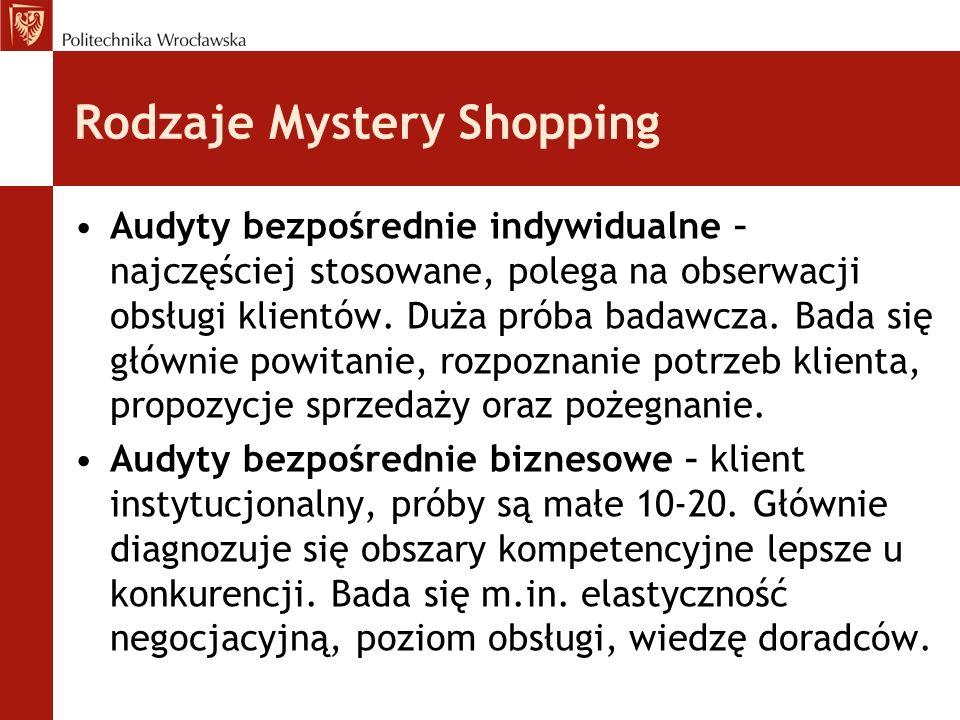 Rodzaje Mystery Shopping Audyty bezpośrednie indywidualne – najczęściej stosowane, polega na obserwacji obsługi klientów. Duża próba badawcza. Bada si
