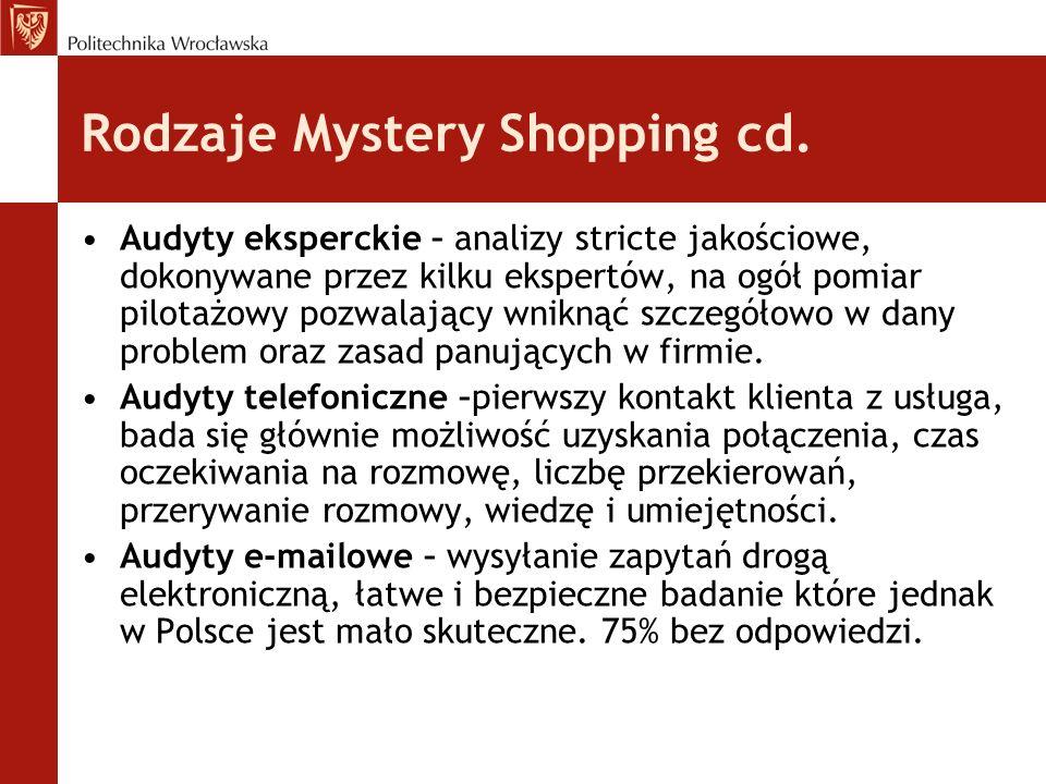 Rodzaje Mystery Shopping cd. Audyty eksperckie – analizy stricte jakościowe, dokonywane przez kilku ekspertów, na ogół pomiar pilotażowy pozwalający w