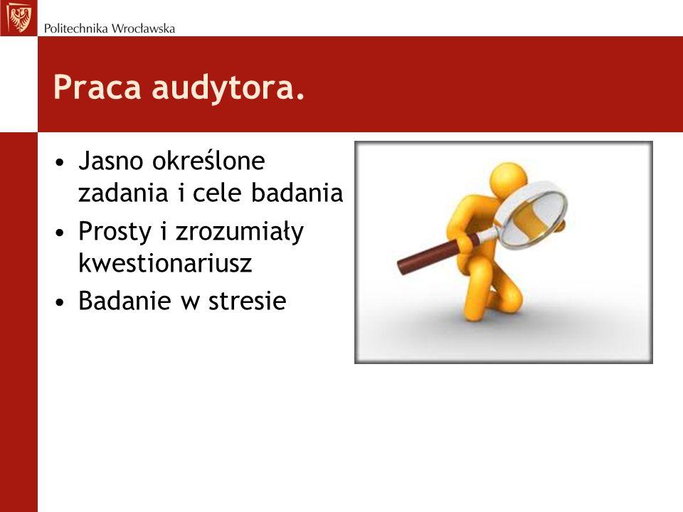Praca audytora. Jasno określone zadania i cele badania Prosty i zrozumiały kwestionariusz Badanie w stresie