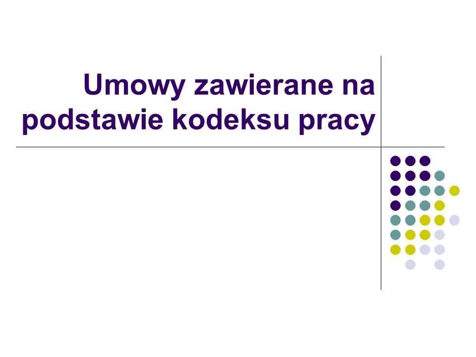 Umowy zawierane na podstawie kodeksu pracy