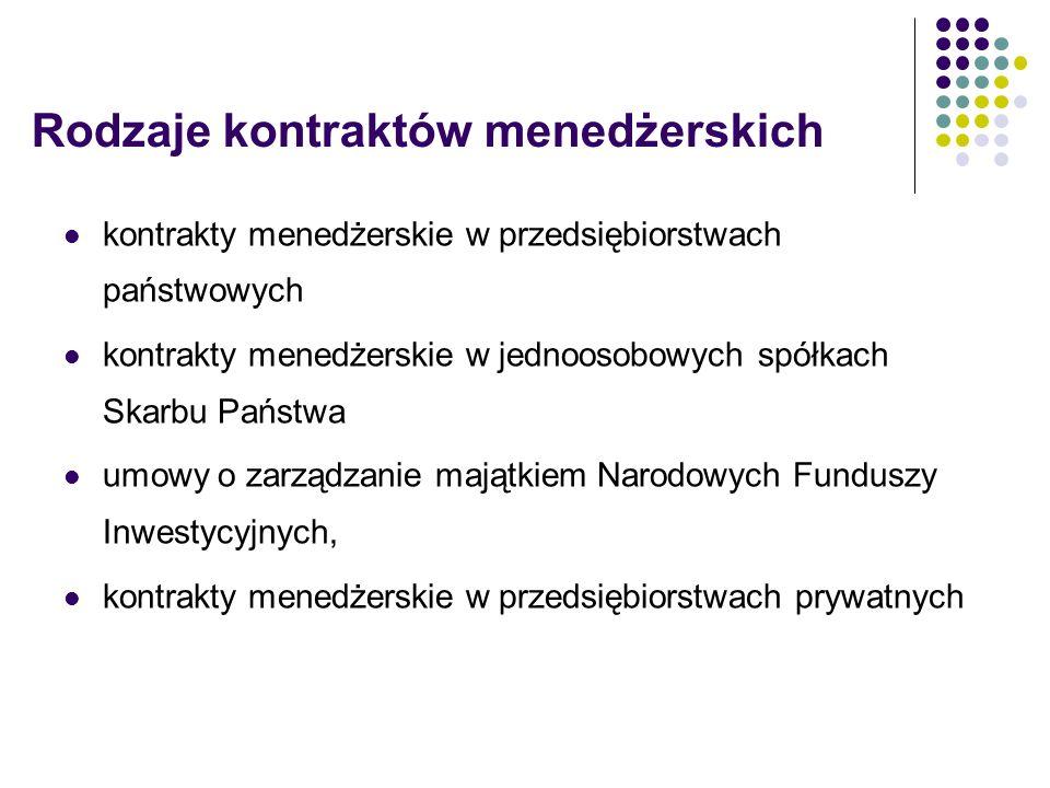Rodzaje kontraktów menedżerskich kontrakty menedżerskie w przedsiębiorstwach państwowych kontrakty menedżerskie w jednoosobowych spółkach Skarbu Państ