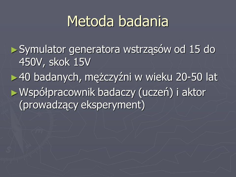 Metoda badania Symulator generatora wstrząsów od 15 do 450V, skok 15V Symulator generatora wstrząsów od 15 do 450V, skok 15V 40 badanych, mężczyźni w