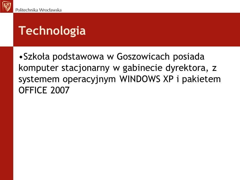 Technologia Szkoła podstawowa w Goszowicach posiada komputer stacjonarny w gabinecie dyrektora, z systemem operacyjnym WINDOWS XP i pakietem OFFICE 20