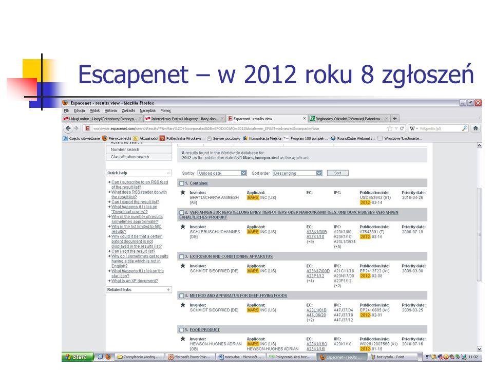 Escapenet – w 2012 roku 8 zgłoszeń