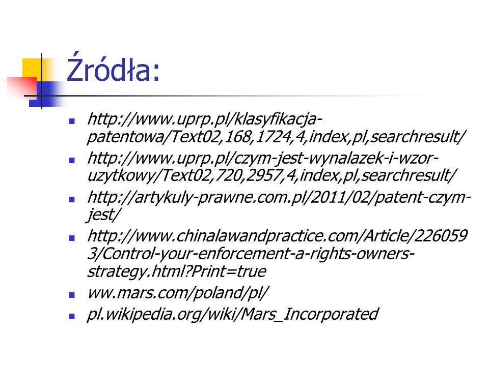 Źródła: http://www.uprp.pl/klasyfikacja- patentowa/Text02,168,1724,4,index,pl,searchresult/ http://www.uprp.pl/czym-jest-wynalazek-i-wzor- uzytkowy/Te