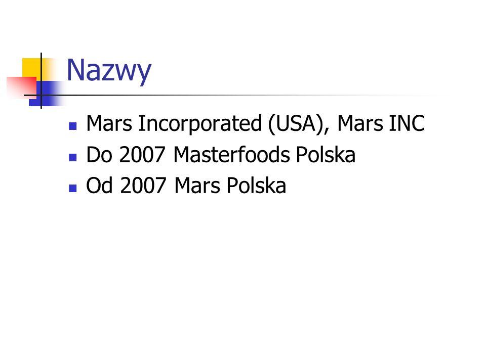 Nazwy Mars Incorporated (USA), Mars INC Do 2007 Masterfoods Polska Od 2007 Mars Polska
