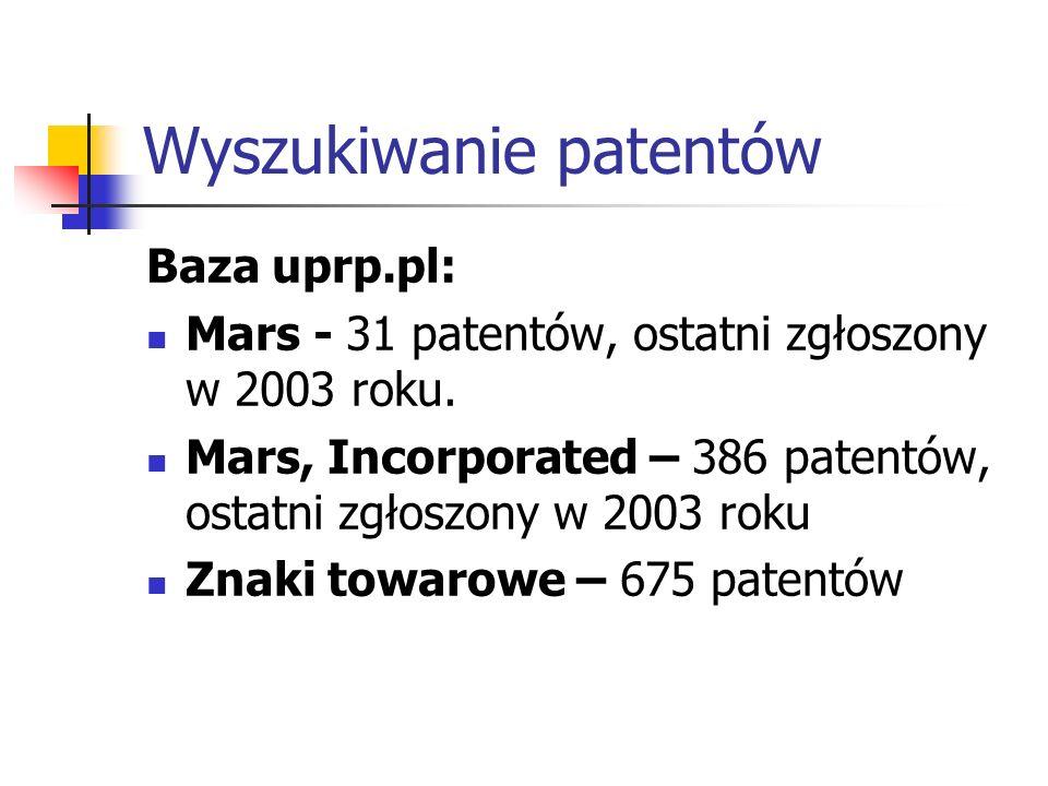 Wyszukiwanie patentów Baza uprp.pl: Mars - 31 patentów, ostatni zgłoszony w 2003 roku. Mars, Incorporated – 386 patentów, ostatni zgłoszony w 2003 rok
