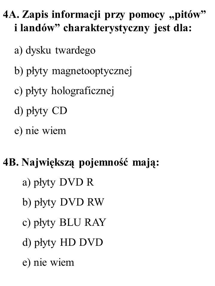 4A. Zapis informacji przy pomocy pitów i landów charakterystyczny jest dla: a) dysku twardego b) płyty magnetooptycznej c) płyty holograficznej d) pły