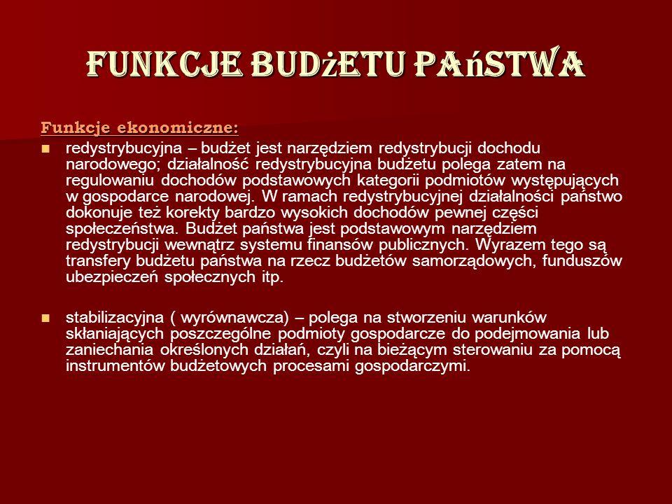Funkcje bud ż etu pa ń stwa Funkcje ekonomiczne: redystrybucyjna – budżet jest narzędziem redystrybucji dochodu narodowego; działalność redystrybucyjn