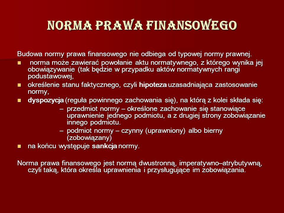 Norma prawa finansowego Budowa normy prawa finansowego nie odbiega od typowej normy prawnej. norma może zawierać powołanie aktu normatywnego, z któreg