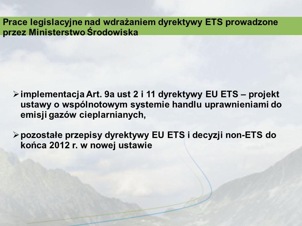 implementacja Art. 9a ust 2 i 11 dyrektywy EU ETS – projekt ustawy o wspólnotowym systemie handlu uprawnieniami do emisji gazów cieplarnianych, pozost
