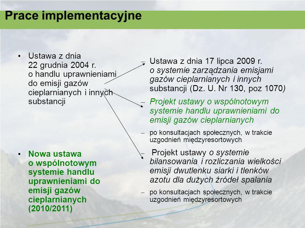 Prace implementacyjne Ustawa z dnia 22 grudnia 2004 r. o handlu uprawnieniami do emisji gazów cieplarnianych i innych substancji Nowa ustawa o wspólno