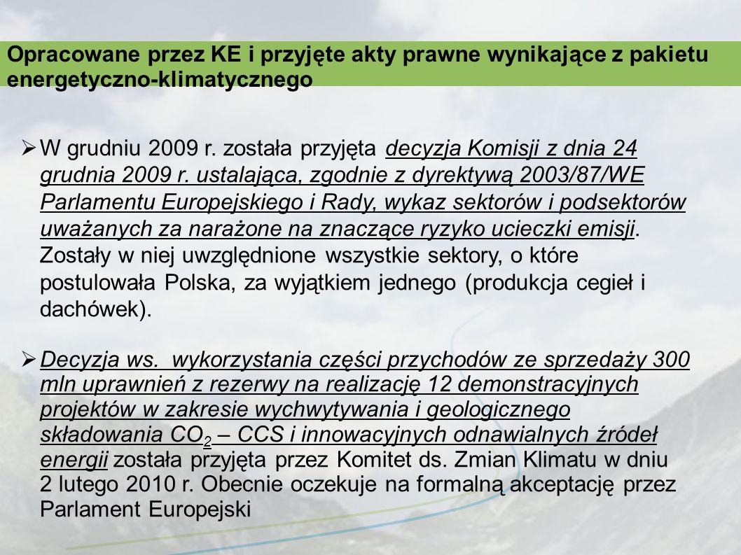 W grudniu 2009 r. została przyjęta decyzja Komisji z dnia 24 grudnia 2009 r. ustalająca, zgodnie z dyrektywą 2003/87/WE Parlamentu Europejskiego i Rad
