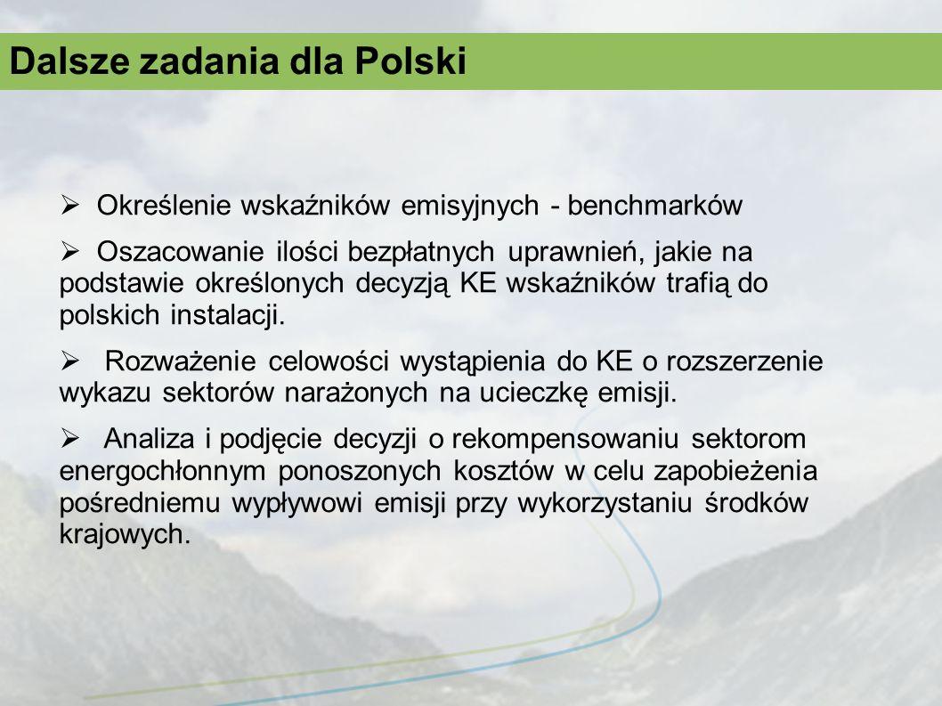 Dalsze zadania dla Polski Określenie wskaźników emisyjnych - benchmarków Oszacowanie ilości bezpłatnych uprawnień, jakie na podstawie określonych decy