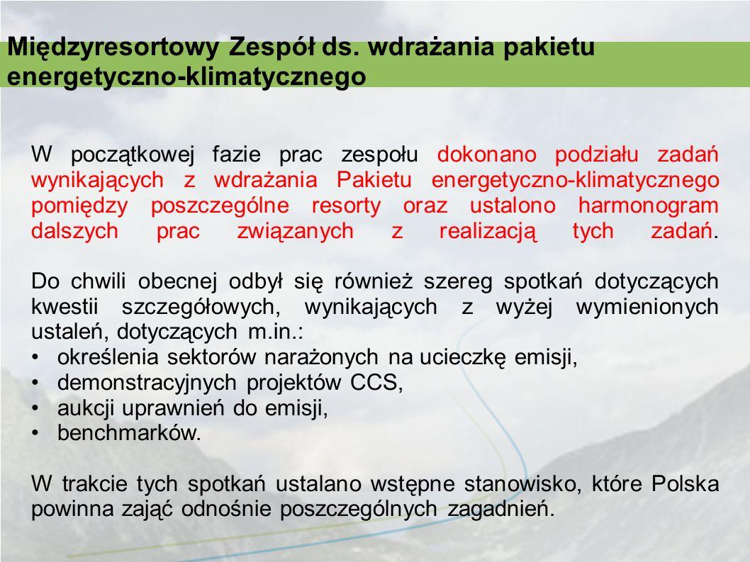 W początkowej fazie prac zespołu dokonano podziału zadań wynikających z wdrażania Pakietu energetyczno-klimatycznego pomiędzy poszczególne resorty ora