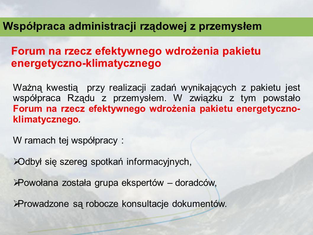 Ważną kwestią przy realizacji zadań wynikających z pakietu jest współpraca Rządu z przemysłem. W związku z tym powstało Forum na rzecz efektywnego wdr