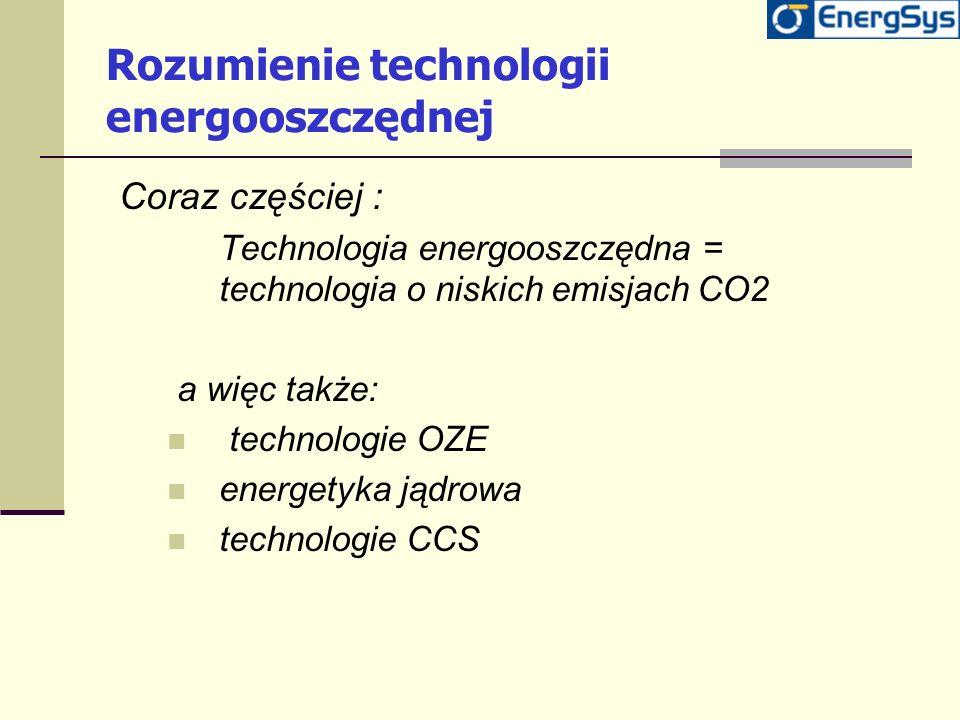 Rozumienie technologii energooszczędnej Coraz częściej : Technologia energooszczędna = technologia o niskich emisjach CO2 a więc także: technologie OZ