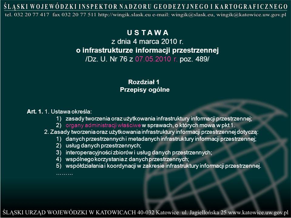 Art. 1. 1. Ustawa określa: 1) zasady tworzenia oraz użytkowania infrastruktury informacji przestrzennej; 2) organy administracji właściwe w sprawach,