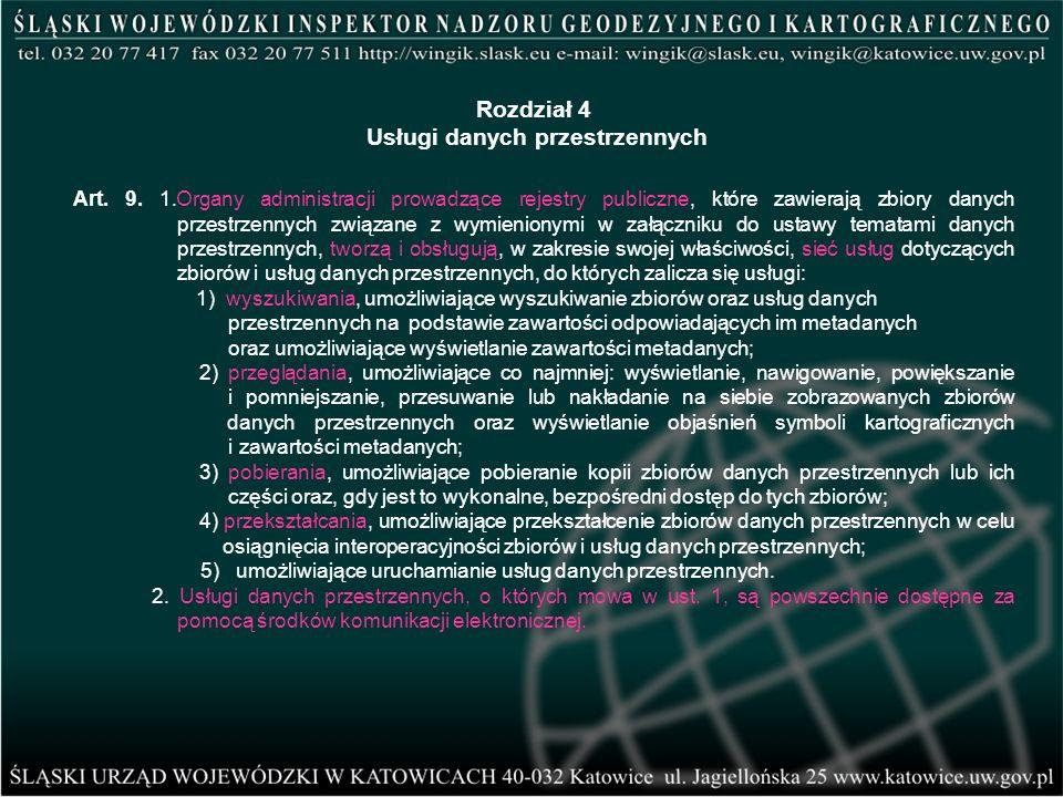 Art. 9. 1.Organy administracji prowadzące rejestry publiczne, które zawierają zbiory danych przestrzennych związane z wymienionymi w załączniku do ust