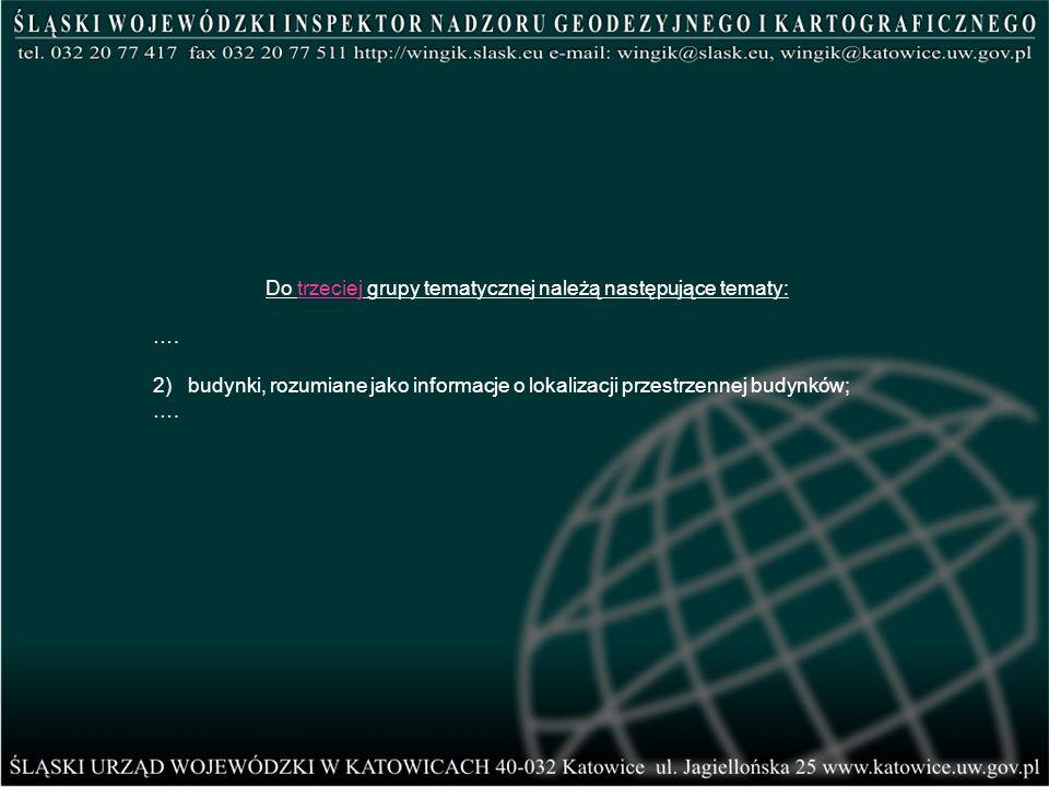 Do trzeciej grupy tematycznej należą następujące tematy: …. 2) budynki, rozumiane jako informacje o lokalizacji przestrzennej budynków; ….