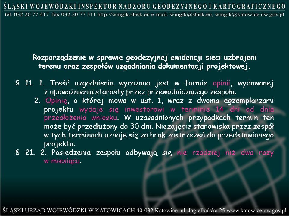 Rozporządzenie w sprawie geodezyjnej ewidencji sieci uzbrojeni terenu oraz zespołów uzgadniania dokumentacji projektowej. § 11. 1. Treść uzgodnienia w