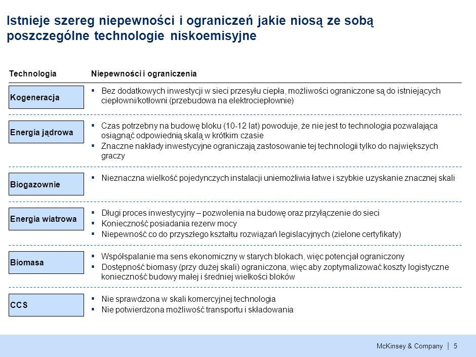 McKinsey & Company | 5 Istnieje szereg niepewności i ograniczeń jakie niosą ze sobą poszczególne technologie niskoemisyjne TechnologiaNiepewności i ograniczenia Kogeneracja Bez dodatkowych inwestycji w sieci przesyłu ciepła, możliwości ograniczone są do istniejących ciepłowni/kotłowni (przebudowa na elektrociepłownie) Energia jądrowa Czas potrzebny na budowę bloku (10-12 lat) powoduje, że nie jest to technologia pozwalająca osiągnąć odpowiednią skalą w krótkim czasie Znaczne nakłady inwestycyjne ograniczają zastosowanie tej technologii tylko do największych graczy Biogazownie Nieznaczna wielkość pojedynczych instalacji uniemożliwia łatwe i szybkie uzyskanie znacznej skali Energia wiatrowa Długi proces inwestycyjny – pozwolenia na budowę oraz przyłączenie do sieci Konieczność posiadania rezerw mocy Niepewność co do przyszłego kształtu rozwiązań legislacyjnych (zielone certyfikaty) Biomasa Współspalanie ma sens ekonomiczny w starych blokach, więc potencjał ograniczony Dostępność biomasy (przy dużej skali) ograniczona, więc aby zoptymalizować koszty logistyczne konieczność budowy małej i średniej wielkości bloków CCS Nie sprawdzona w skali komercyjnej technologia Nie potwierdzona możliwość transportu i składowania