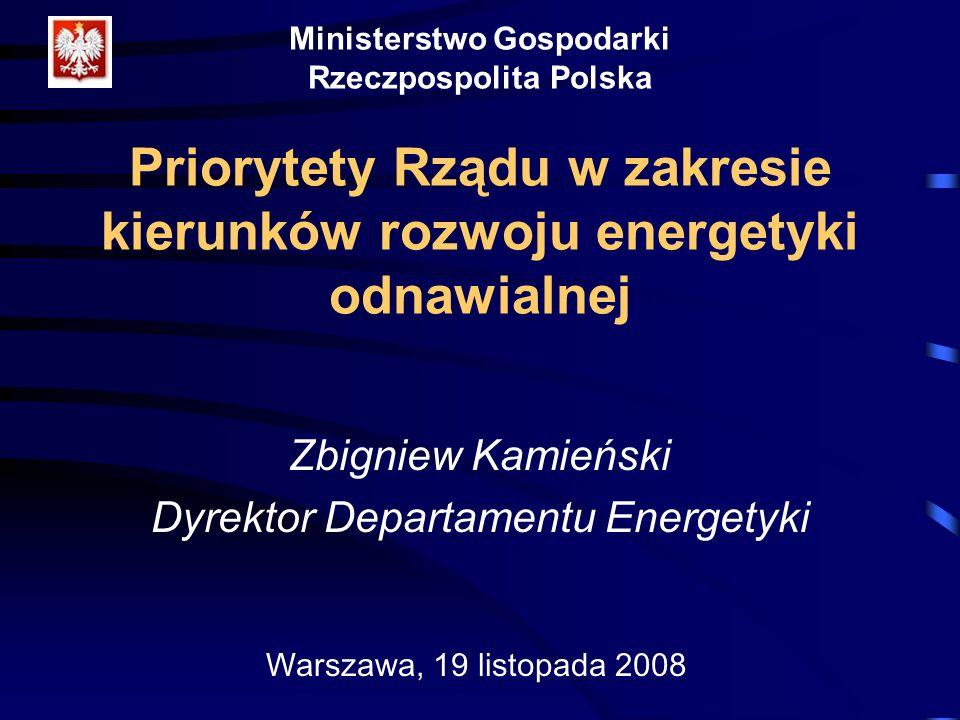 Ministerstwo Gospodarki Rzeczpospolita Polska Priorytety Rządu w zakresie kierunków rozwoju energetyki odnawialnej Zbigniew Kamieński Dyrektor Departa