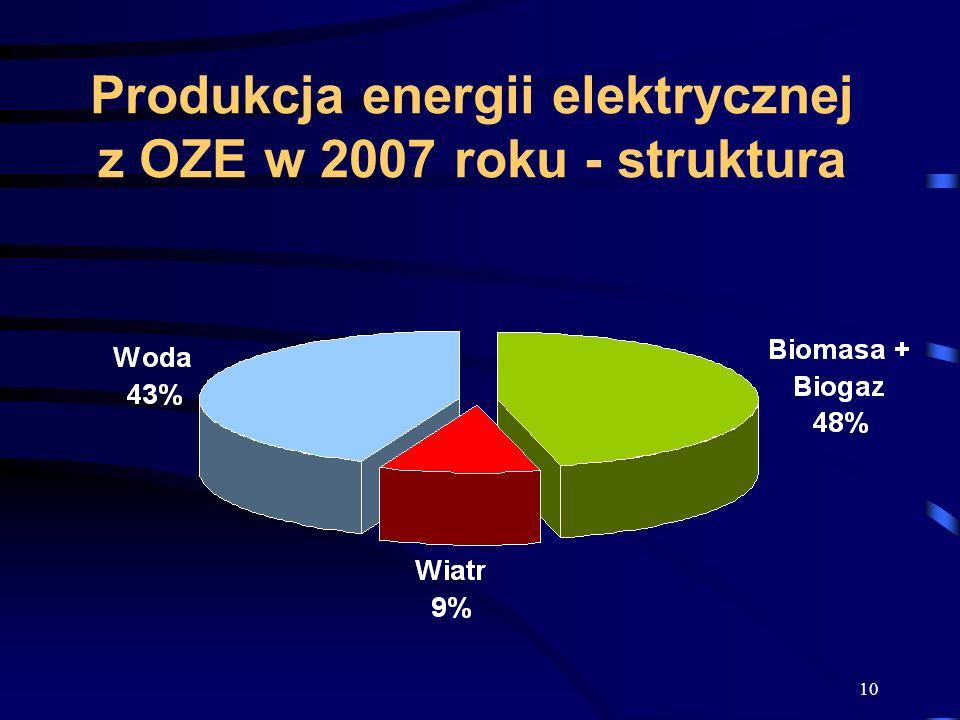10 Produkcja energii elektrycznej z OZE w 2007 roku - struktura