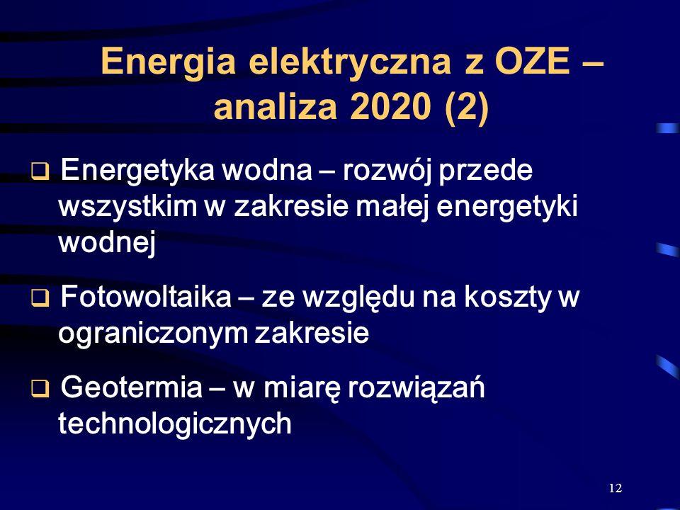 12 Energetyka wodna – rozwój przede wszystkim w zakresie małej energetyki wodnej Fotowoltaika – ze względu na koszty w ograniczonym zakresie Geotermia