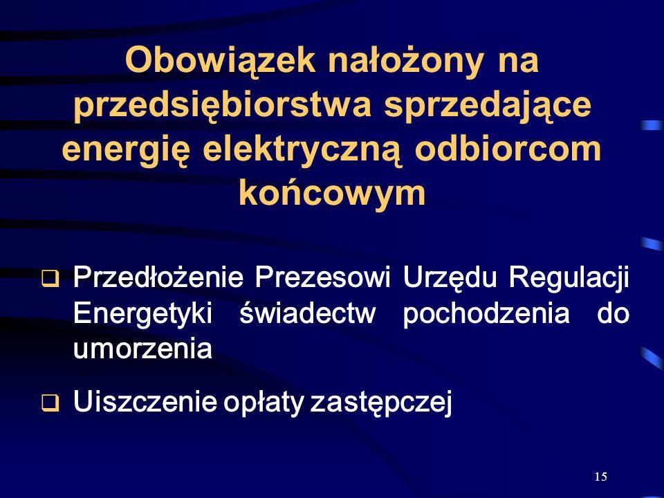 15 Obowiązek nałożony na przedsiębiorstwa sprzedające energię elektryczną odbiorcom końcowym Przedłożenie Prezesowi Urzędu Regulacji Energetyki świade