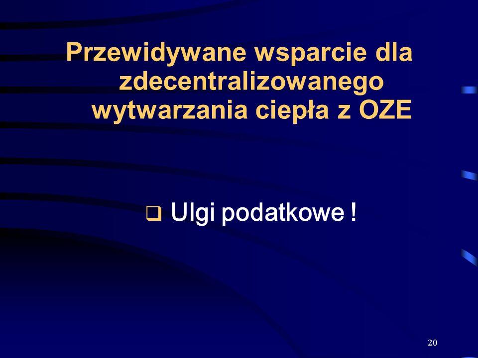 20 Przewidywane wsparcie dla zdecentralizowanego wytwarzania ciepła z OZE Ulgi podatkowe !