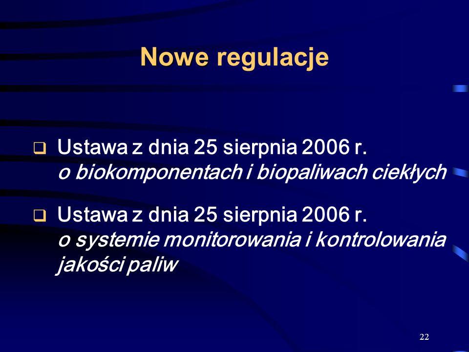 22 Nowe Nowe regulacje Ustawa z dnia 25 sierpnia 2006 r. o biokomponentach i biopaliwach ciekłych Ustawa z dnia 25 sierpnia 2006 r. o systemie monitor