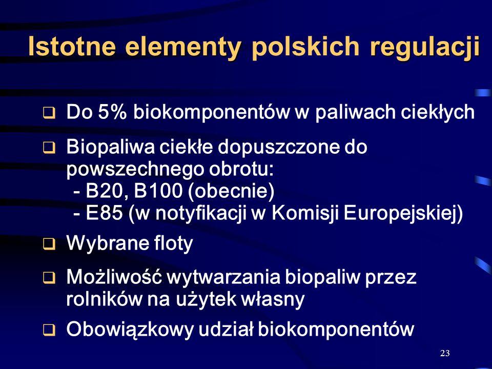 23 Istotne elementy regulacji Istotne elementy polskich regulacji Do 5% biokomponentów w paliwach ciekłych Biopaliwa ciekłe dopuszczone do powszechneg