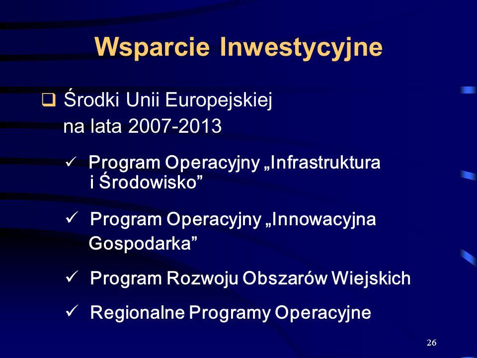 26 Wsparcie Inwestycyjne Środki Unii Europejskiej na lata 2007-2013 Program Operacyjny Infrastruktura i Środowisko Program Operacyjny Innowacyjna Gosp