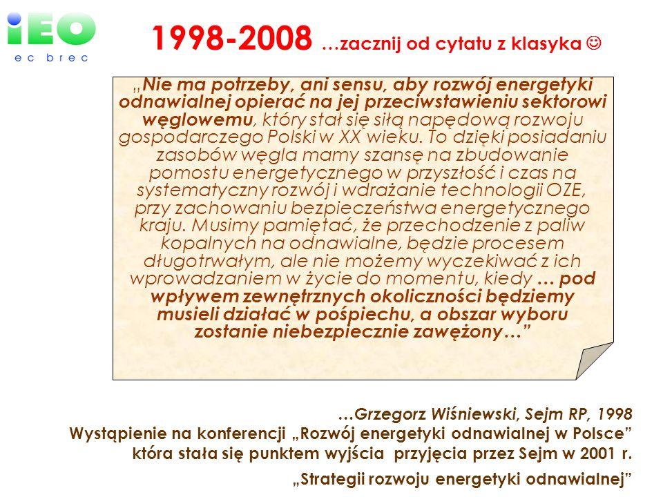 …Grzegorz Wiśniewski, Sejm RP, 1998 Wystąpienie na konferencji Rozwój energetyki odnawialnej w Polsce która stała się punktem wyjścia przyjęcia przez