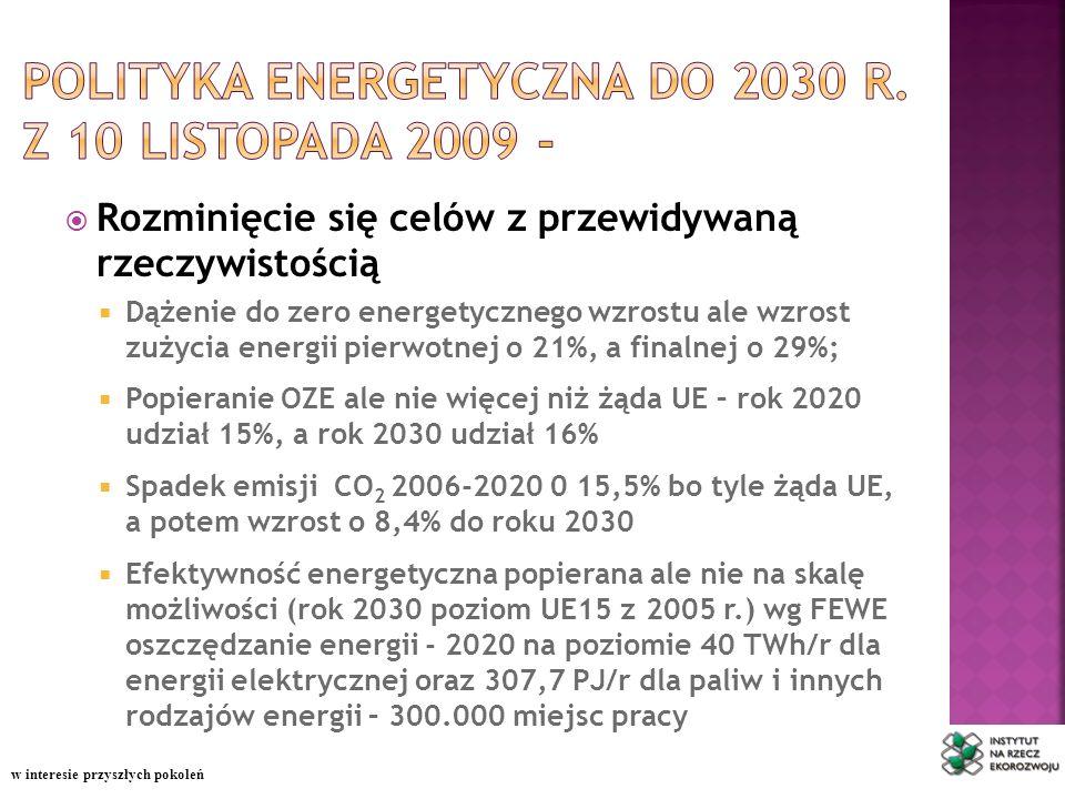 Rozminięcie się celów z przewidywaną rzeczywistością Dążenie do zero energetycznego wzrostu ale wzrost zużycia energii pierwotnej o 21%, a finalnej o 29%; Popieranie OZE ale nie więcej niż żąda UE – rok 2020 udział 15%, a rok 2030 udział 16% Spadek emisji CO 2 2006-2020 0 15,5% bo tyle żąda UE, a potem wzrost o 8,4% do roku 2030 Efektywność energetyczna popierana ale nie na skalę możliwości (rok 2030 poziom UE15 z 2005 r.) wg FEWE oszczędzanie energii - 2020 na poziomie 40 TWh/r dla energii elektrycznej oraz 307,7 PJ/r dla paliw i innych rodzajów energii – 300.000 miejsc pracy w interesie przyszłych pokoleń