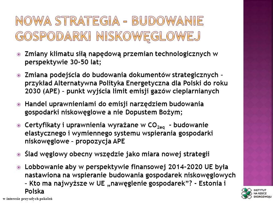 Zmiany klimatu siłą napędową przemian technologicznych w perspektywie 30-50 lat; Zmiana podejścia do budowania dokumentów strategicznych – przykład Alternatywna Polityka Energetyczna dla Polski do roku 2030 (APE) – punkt wyjścia limit emisji gazów cieplarnianych Handel uprawnieniami do emisji narzędziem budowania gospodarki niskowęglowe a nie Dopustem Bożym; Certyfikaty i uprawnienia wyrażane w CO 2eq - budowanie elastycznego i wymiennego systemu wspierania gospodarki niskowęglowe – propozycja APE Ślad węglowy obecny wszędzie jako miara nowej strategii Lobbowanie aby w perspektywie finansowej 2014-2020 UE była nastawiona na wspieranie budowania gospodarek niskowęglowych – Kto ma najwyższe w UE nawęglenie gospodarek.