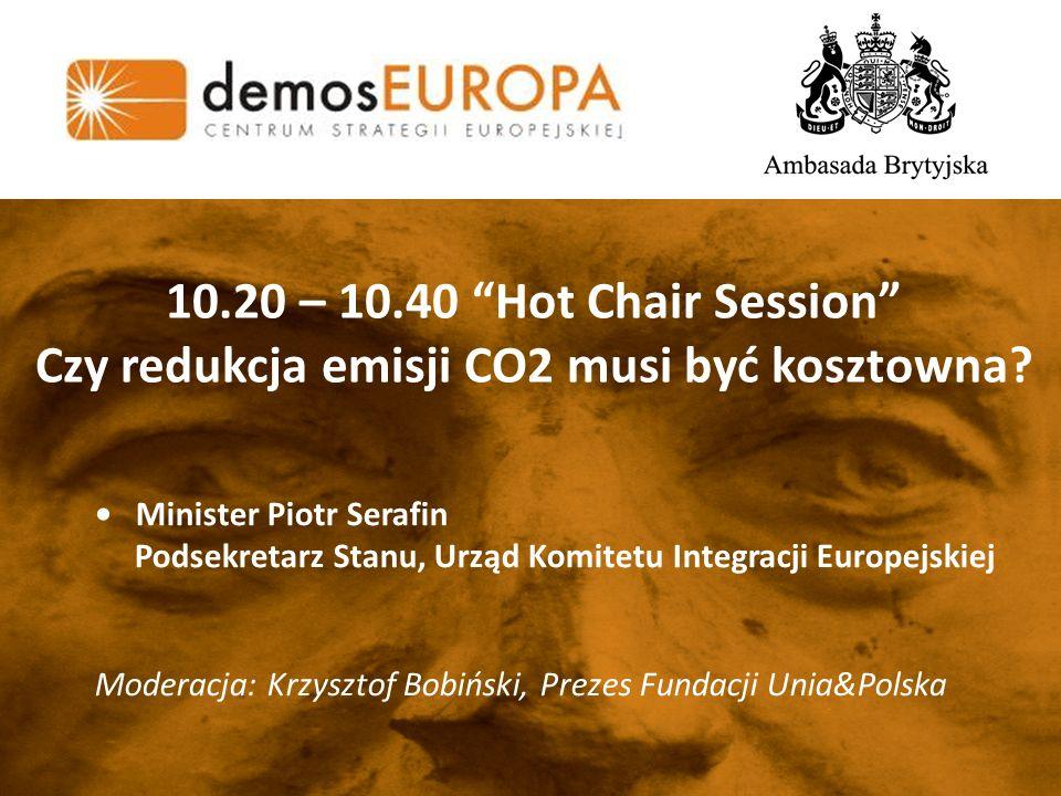 10.20 – 10.40 Hot Chair Session Czy redukcja emisji CO2 musi być kosztowna.