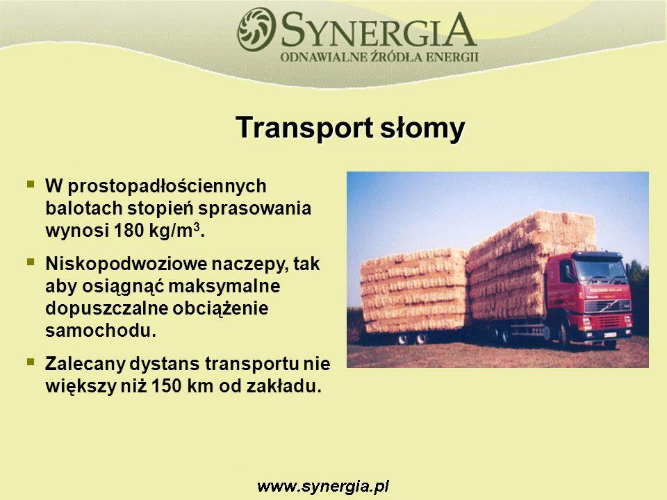 Transport słomy W prostopadłościennych balotach stopień sprasowania wynosi 180 kg/m 3.