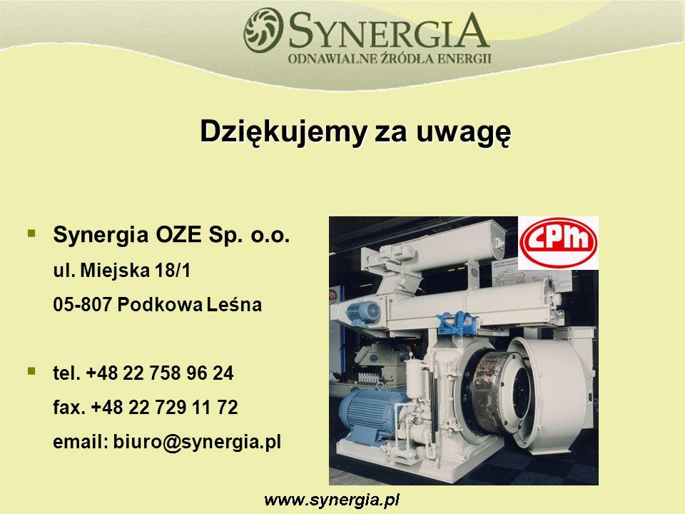 Dziękujemy za uwagę Synergia OZE Sp.o.o. ul. Miejska 18/1 05-807 Podkowa Leśna tel.