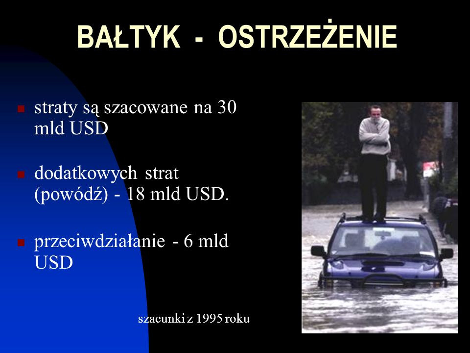 BAŁTYK - OSTRZEŻENIE straty są szacowane na 30 mld USD dodatkowych strat (powódź) - 18 mld USD.