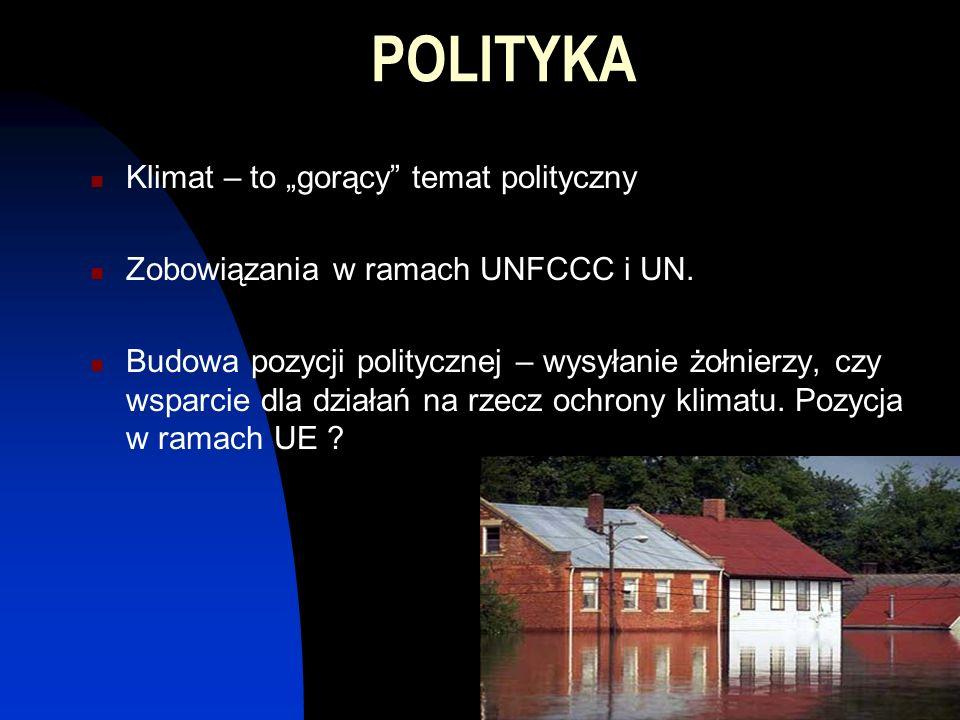 POLITYKA Klimat – to gorący temat polityczny Zobowiązania w ramach UNFCCC i UN.